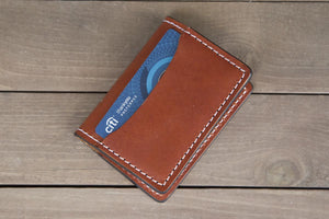 Chestnut 3 Pocket minimalist leather wallet