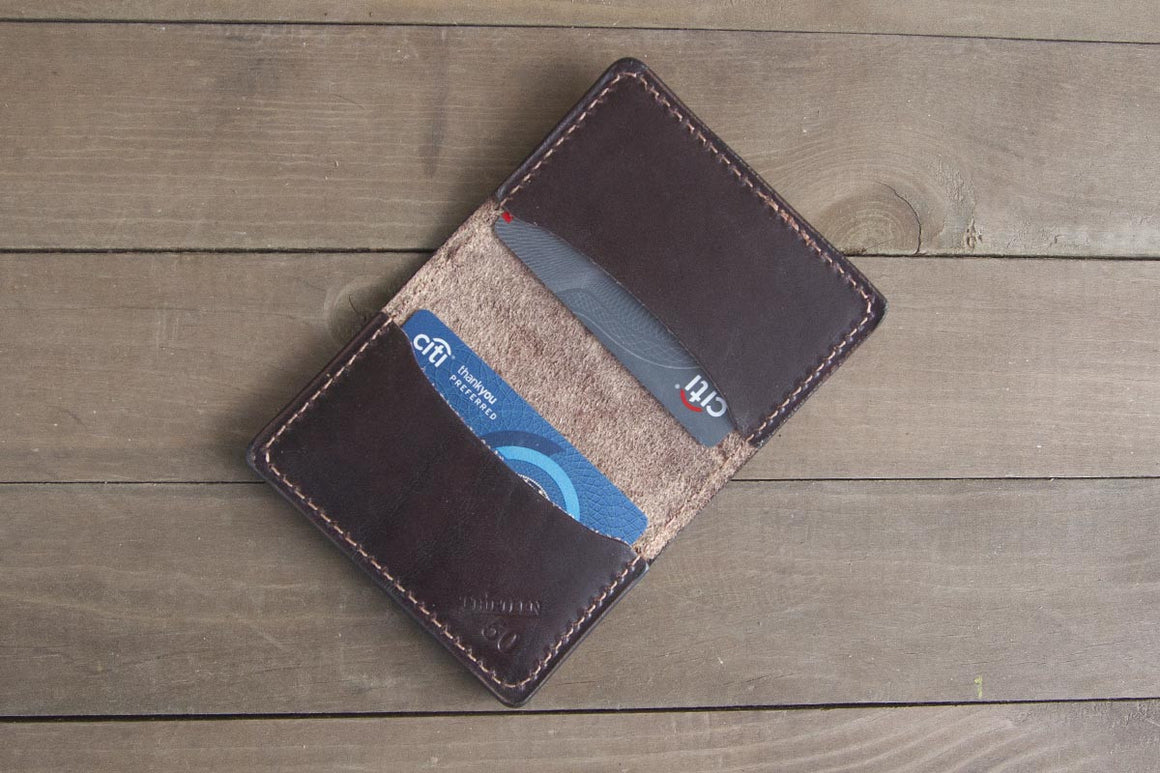 dark brown minimalist wallet 3 pocket
