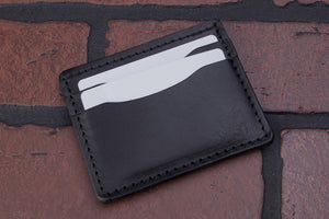 Black 4 pocket front pocket full grain leather card wallet