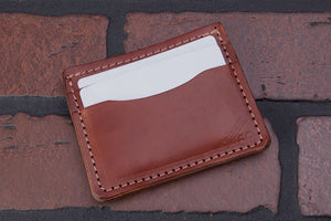 Brown 4 pocket front pocket full grain leather card wallet
