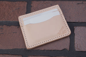 Natural 4 pocket front pocket full grain leather card wallet