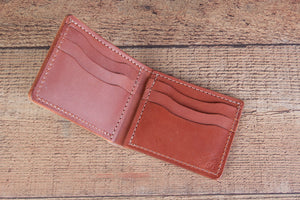 chestnut leather bifold wallet