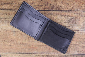 Black 8 Pocket Full Grain leather Bifold Wallet