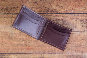 dark brown leather bifold wallet