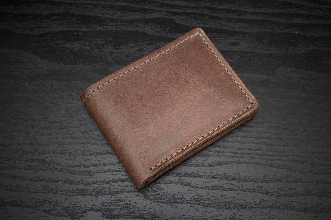 natural chromexcel leather bifold wallet