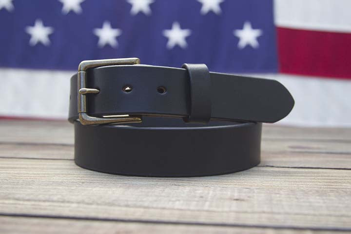 Black Full Grain Leather Belt Tapered Tip