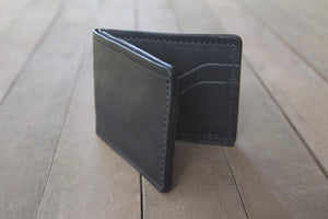 Black Bridle Leather Bifold Wallet