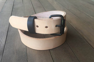 Black and Natural Full Grain Leather Belt - Limited time.
