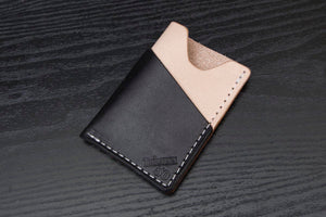 Black and Natural Wrap around leather card wallet - Limited Time