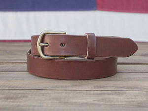 "1.25"" Brown Full Grain Leather Belt  English Point Tip"