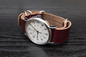 Burgundy Horween Chromexcel Leather Nato Watch Strap