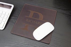 Dark Brown Leather Mouse Pad