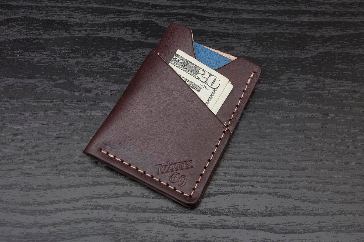 2586f99e71 Dark Brown full grain leather wrap around card wallet - Thirteen50 Leather