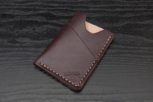 Dark Brown full grain leather wrap around card wallet