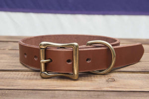 Brown Leather Dog Collar 1.25""
