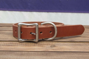 Chestnut Leather Dog Collar 1.25""