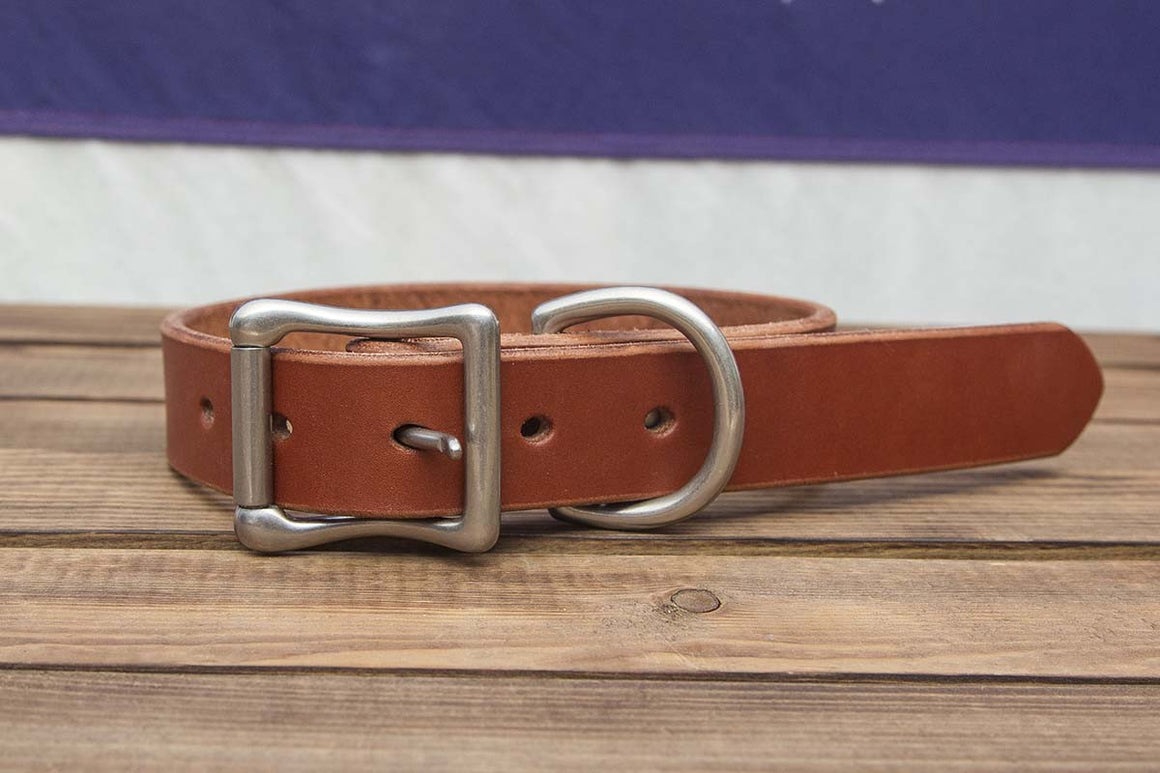 chestnut leather dog collar