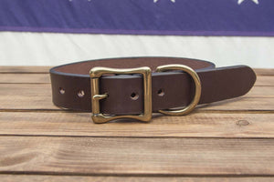 Dark Brown Leather Dog Collar 1.25""