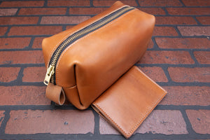 Horween Essex full grain leather dopp kit shaving bag