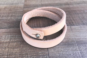 Natural Double Wrap Leather Wristband