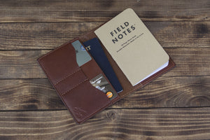 brown leather traveler wallet