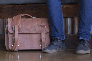 Full Grain Leather Briefcase Old world harness leather