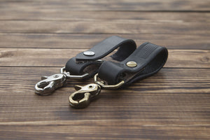black leather key chain