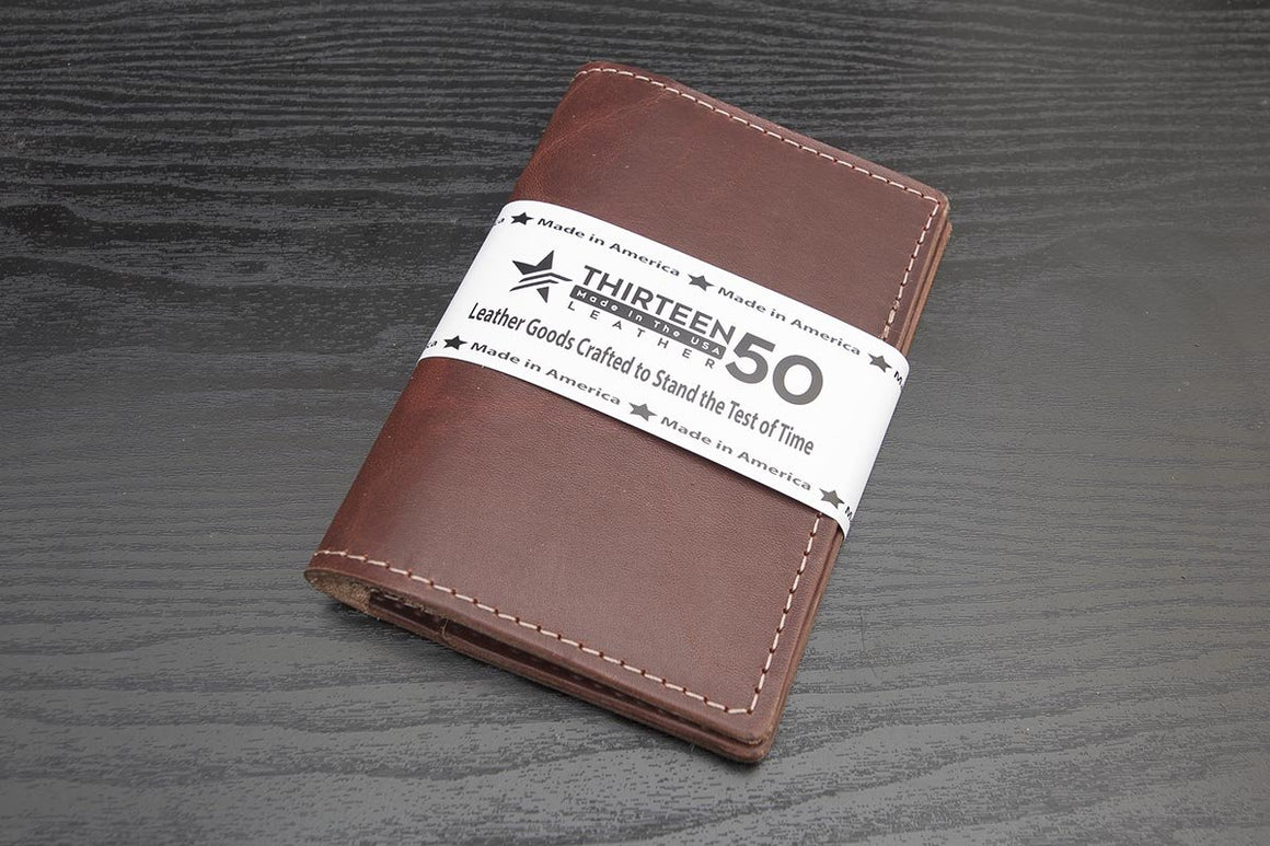 tan oiled latigo leather traveler wallet