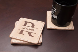 natural leather coaster