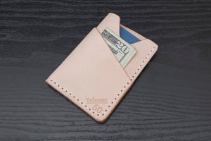 Natural Wrap around leather card wallet