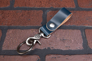 Navy blue shell cordovan key fob
