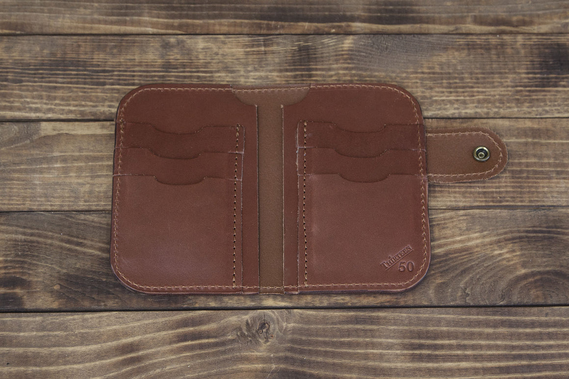 brown snap leather bifold wallet