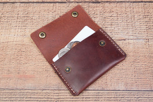 Brown Harness leather Lincoln Card/Coin Wallet