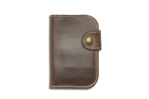 natural horween snap bifold leather wallet