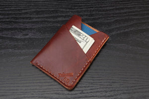 Tan oiled Latigo Wrap around leather card wallet