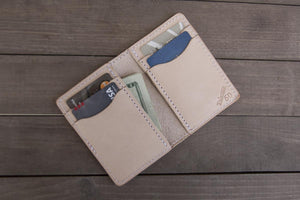 Vertical 6 Pocket | Natural Leather Wallet