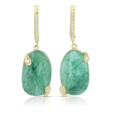 Drop emerald slice and diamond earrings