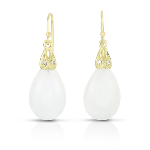Drop diamond moonstone and diamond earrings