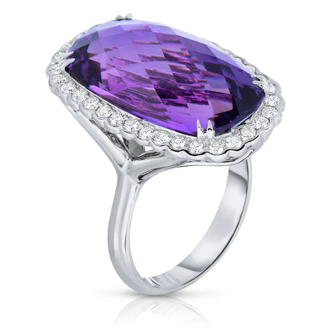 Amethyst and diamond ring with split shank
