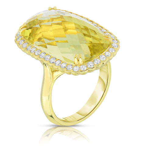 Lemon Quartz diamond ring