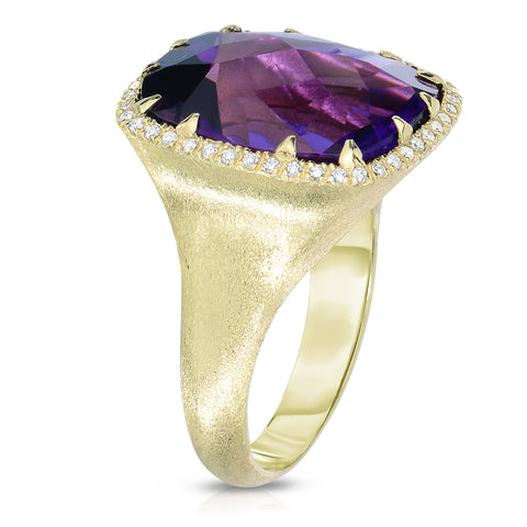 Amethyst ring with diamond halo
