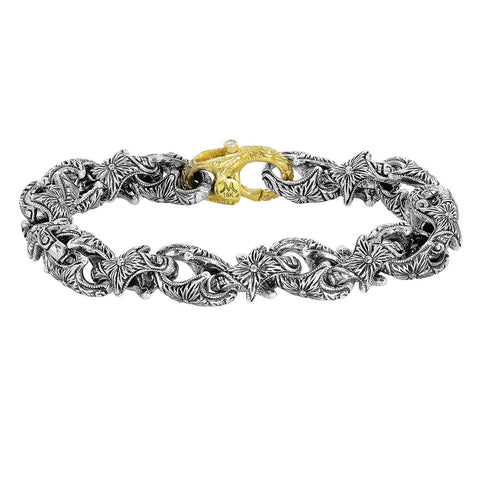Hand engraved sterling silver and 18k link bracelet