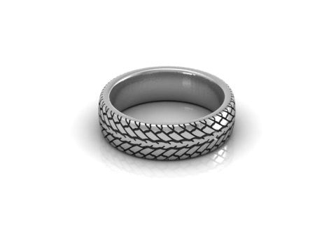 Sterling silver car tire tread wedding band