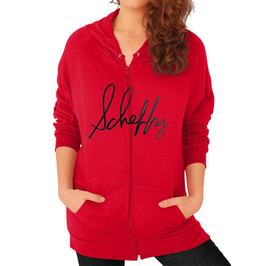 Zip Hoodie (on woman) Red Scheffland Music Products