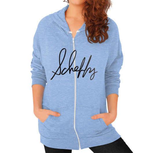 Zip Hoodie (on woman) Tri-Blend Blue Scheffland Music Products