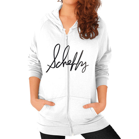 Zip Hoodie (on woman) White Scheffland Music Products
