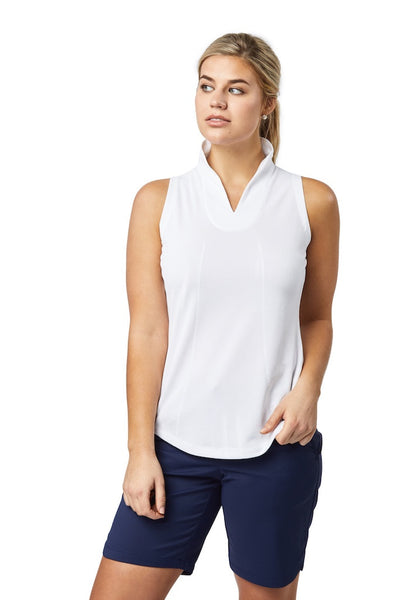 Sleeveless Stand Collar Top (White)