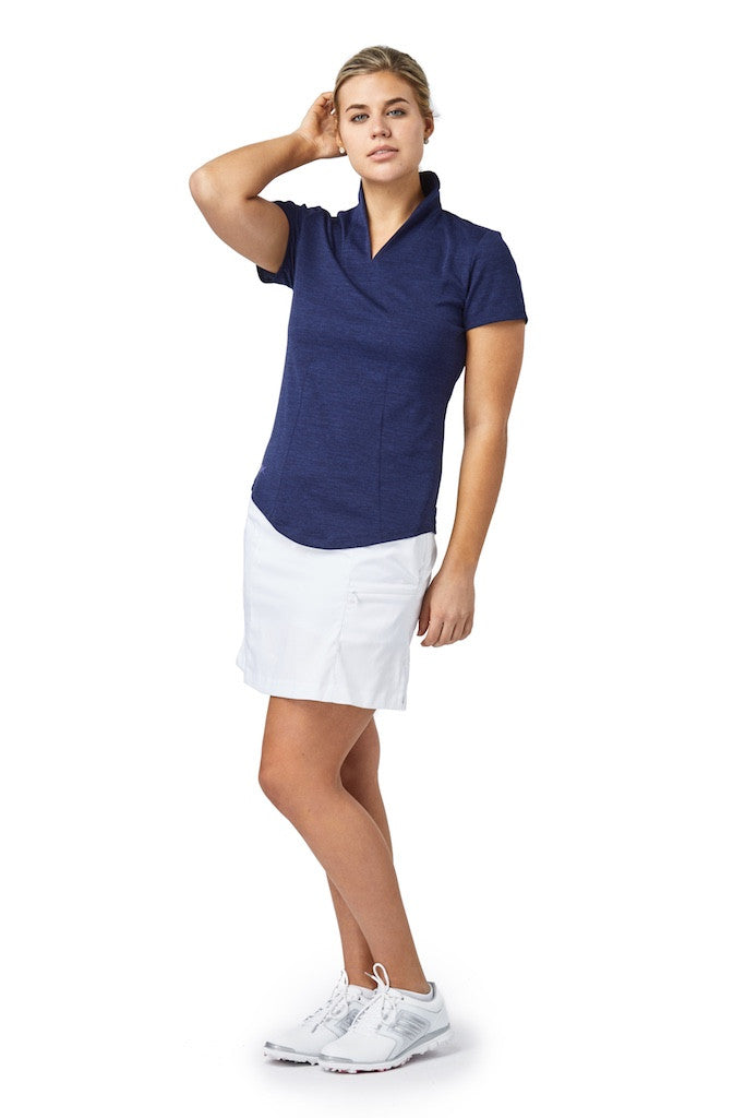 Short Sleeve Stand Up Collar Top (Navy)