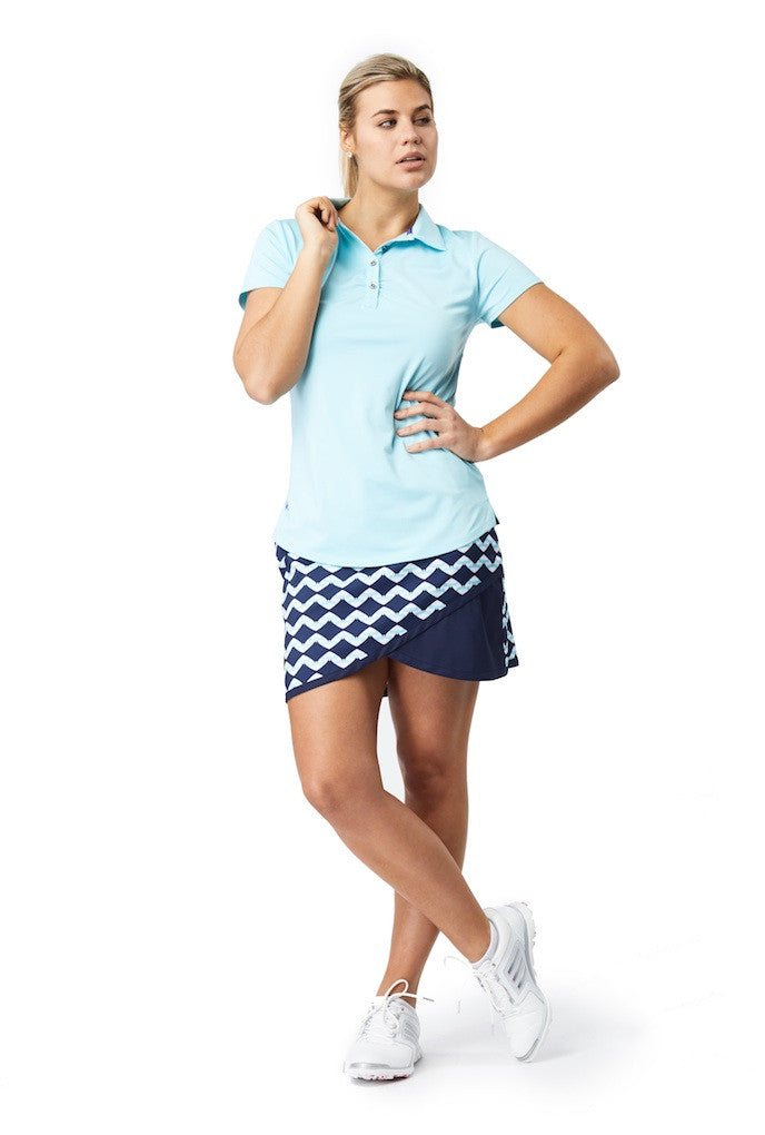 Essential Trend Polo with Lace Mesh Insert (Aqua Cone)