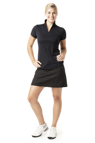 women's golf shirt short sleeve black
